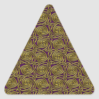 Gold And Purple Celtic Spiral Knots Pattern Triangle Stickers
