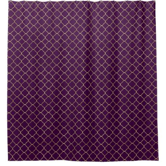 Gold And Purple Chic Quatrefoil Shower Curtain