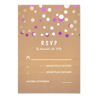 Gold and Purple Confetti Dots Wedding RSVP Cards