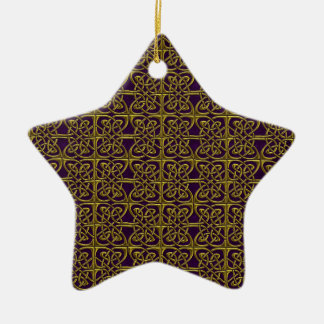 Gold And Purple Connected Ovals Celtic Pattern Ceramic Ornament