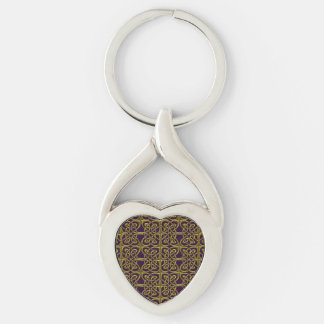 Gold And Purple Connected Ovals Celtic Pattern Keychain