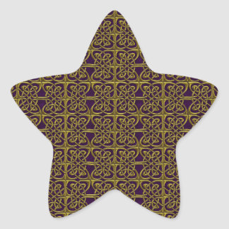 Gold And Purple Connected Ovals Celtic Pattern Sticker