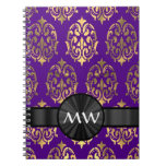 Gold and purple damask notebook