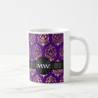 Gold and purple damask pattern coffee mug