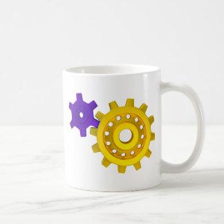 Gold and purple gears coffee mug