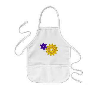 Gold and purple gears kids' apron