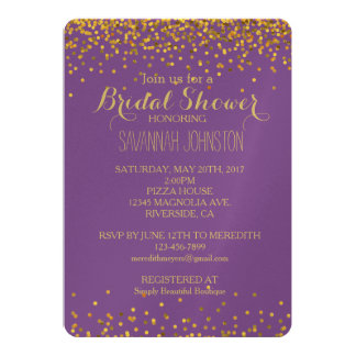Gold and Purple Glam Confetti Dots bridal shower Card