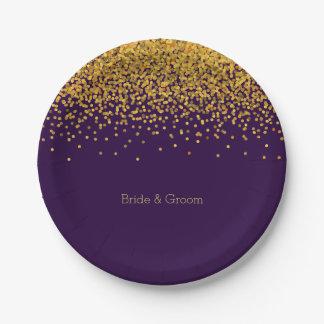 Gold and Purple Glam Confetti Dots Paper Plate