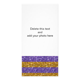 Gold and Purple Glitter Stripes Printed Card