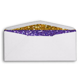 Gold and Purple Glitter Stripes Printed Envelopes