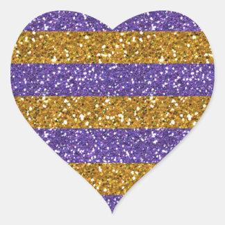 Gold and Purple Glitter Stripes Printed Heart Sticker