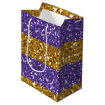 Gold and Purple Glitter Stripes Printed Medium Gift Bag