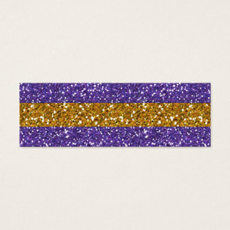Gold and Purple Glitter Stripes Printed Mini Business Card