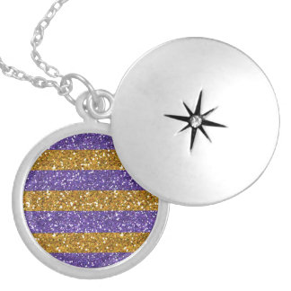 Gold and Purple Glitter Stripes Printed Round Locket Necklace