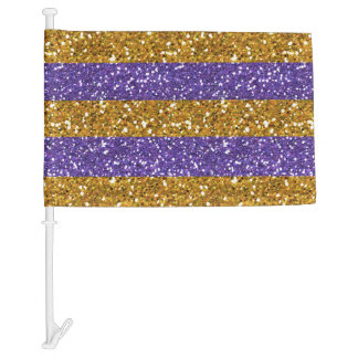 Gold and Purple Glitter Stripes Printed Car Flag