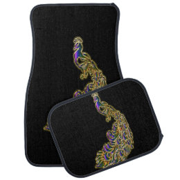 Gold and purple peacock glimmering brightly car floor mat