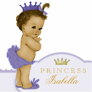 Gold and Purple Princess Baby Shower Standing Photo Sculpture