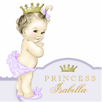 Gold and Purple Princess Baby Shower Statuette