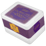 Gold and Purple Quatrefoil Pattern with Monogram Drink Cooler