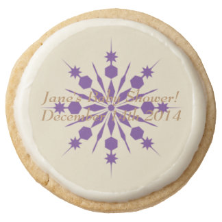 Gold and Purple Snowflake Baby Shower Cookies Round Premium Shortbread Cookie