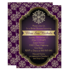 Gold and purple snowflake wedding bridal shower invitation