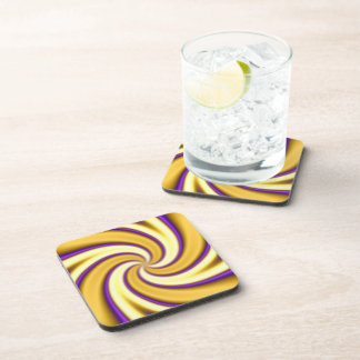 gold and purple spiraling abstract coaster