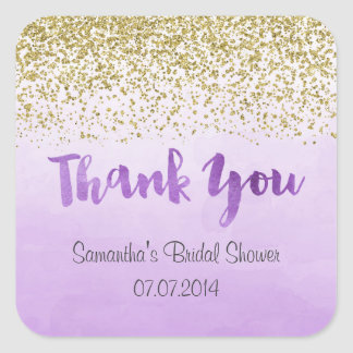 Gold and Purple Thank You Stickers