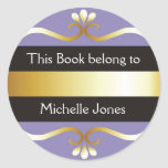 Gold And Purple This Book Belongs To Bookplates Round Stickers