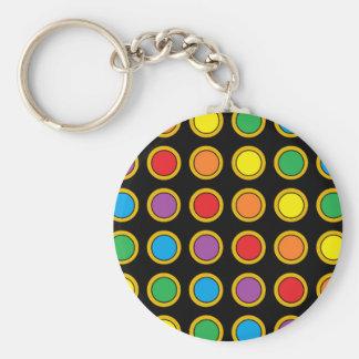 Gold and Rainbow Polk Dots Keychain