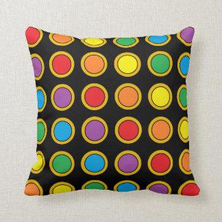 Gold and Rainbow Polk Dots Pillow