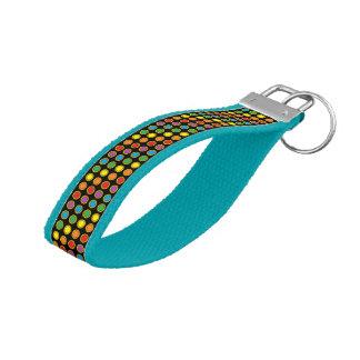 Gold and Rainbow Polk Dots Wrist Keychain