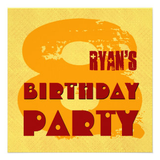 GOLD and RED 8th Birthday Party 8 Year Old V11J Custom Invitation