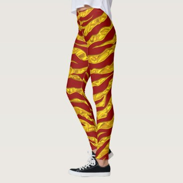 Beach Themed Gold And Red Animal Tigers Stripes Leggings