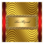 Gold and Red Art Deco Bar Mitzvah  Invitation