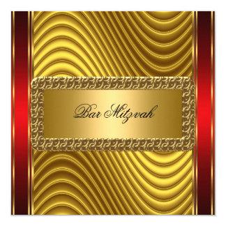 "Gold and Red Art Deco Bar Mitzvah  Invitation 5.25"" Square Invitation Card"
