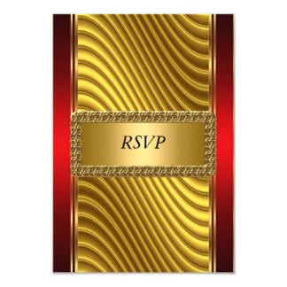 Gold and Red Art Deco Bar Mitzvah RSVP Card