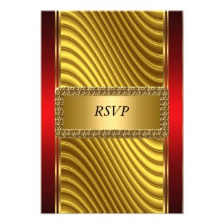 Gold and Red Art Deco Bar Mitzvah RSVP Personalized Invite