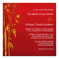Gold and Red Bamboo Asian Wedding Invitations