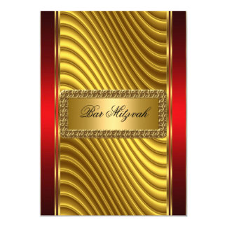 Gold and Red Bar Mitzvah Invitation