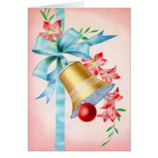 Gold and Red Bell Vintage Wedding Card