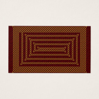 Gold And Red Celtic Rectangular Spiral Business Card
