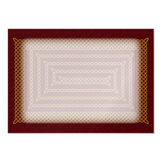 Gold And Red Celtic Rectangular Spiral Card