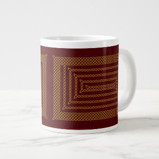 Gold And Red Celtic Rectangular Spiral Giant Coffee Mug