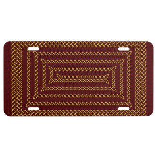 Gold And Red Celtic Rectangular Spiral License Plate
