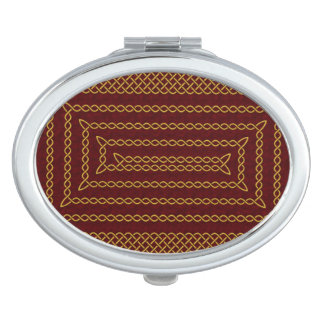 Gold And Red Celtic Rectangular Spiral Makeup Mirrors