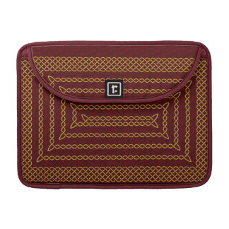 Gold And Red Celtic Rectangular Spiral Sleeve For MacBook Pro