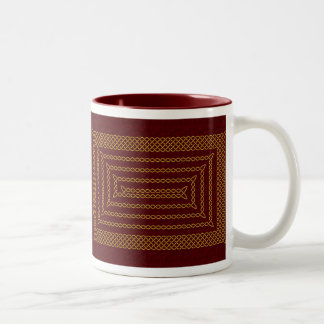 Gold And Red Celtic Rectangular Spiral Two-Tone Coffee Mug