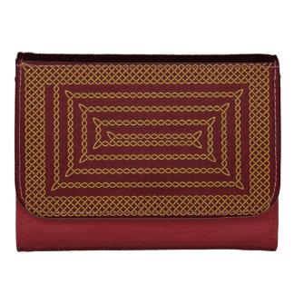 Gold And Red Celtic Rectangular Spiral Wallet