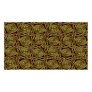 Gold And Red Celtic Spiral Knots Pattern Business Card Templates