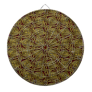 Gold And Red Celtic Spiral Knots Pattern Dart Board